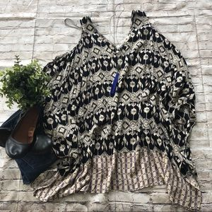 Mystree Cream Black Aztec Cold Shoulder Tunic OS